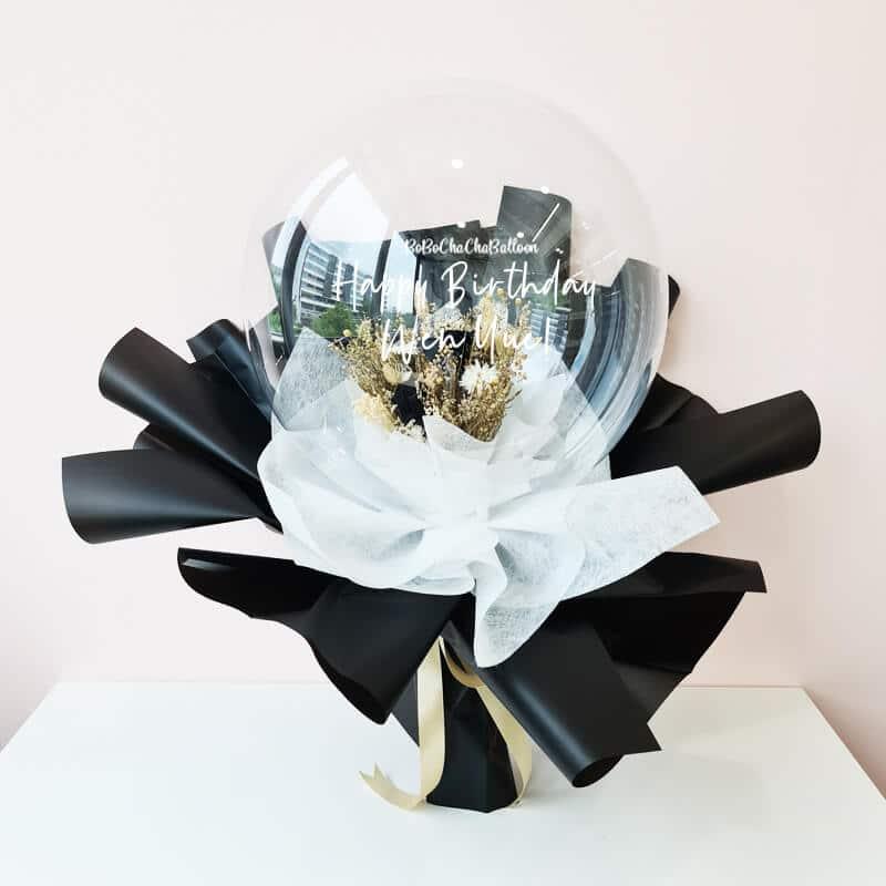 Black Preserved Rose Balloon Flower Bouquet